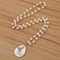 Goccia placcata in oro Goccia a rosone Pendente al quarzo Pendente Forniture per perle perline Collana Catena Labradorite Gioielli in pietra FWE6376