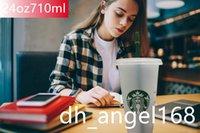 40 шт. DHL Starbucks 24oz / 710ml Tumblers пластиковые многоразовые прозрачные плоские чашки со сторной колонной с крышкой крышкой бардийской кружки