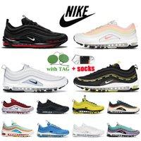 Мода Nike Air Max 97 Беговые Обувь MSCHF Lil NAS X Сатана едва вольт Атомный розовый непобедимый непобедимый черный Airmax Trainers Pine Green Triple белый светоотражающий