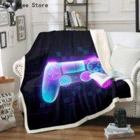 Gençler Gamepad Peluş Yatak Battaniye Atmak Kapak Çocuklar Video Oyunu Atmak Battaniye 3D Oyun Joystick Flanel Battaniye Modern Gamer D-Pad