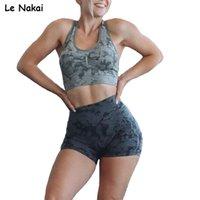 Adaptar camuflaje conjuntos de pantalones cortos sin fisuras para mujeres entrenamiento de verano ropa de verano racer recorte top top 2 piezas gimnasio ropa de vestir yoga conjunto 210802