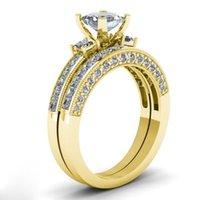 Paar Ringe - Männer doppelreizende Zirkon Edelstahl Ringe Frauen 18 Karat Gelbgold Gefüllt Weiß Saphir Diamant Ring 633 Q2
