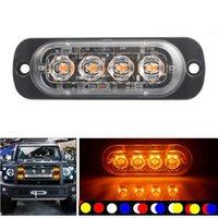Lumières de secours Ultra mince 4 copeaux de voiture LED Strobe Light Grill Breakdown Auto Clignotant pour SUV Truck Motorcycle 12-24V