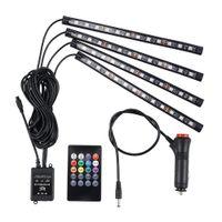 4pcs / Set Cylisme de voiture 12V DI LED Strip Lumière Atmosphère décorative Lampes Auto Intérieur Accessoires avec télécommande