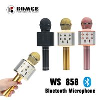 WS-858 홈 KTV 블루투스 무선 마이크 HIFI 스피커 WS858 매직 가라오케 플레이어 마이크 파티 스피커 휴대 전화 정제를위한 음악을 기록