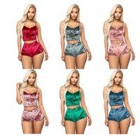 Kadınlar Pijama Tasarımcılar Giysileri 2020 Set Seksi Kadife Iki Parçalı Bayanlar 2 adet Pijama Kadın Yelek Şort Set Yaz Bayan Gecelikler