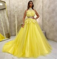 Charming Yellow Evening Dresses 2021 A Line Feather Lace High Collar Long Prom Gowns Illusion Zip Back Dubai African Party Pageant Dress