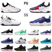 أحدث مسحوق أزرق أسود أبيض بول جورج PG 5 V أحذية كرة السلة للرجال كليبرز عالية الجودة ولدت PG5 أحذية رياضية للرجال 40-46
