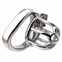 Nuun casta pássaro macho gaiola de galo de aço inoxidável com anel anti-off anel anti-off Castity anel com stealth novo bloqueio sex shop 210324