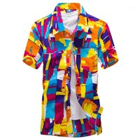 Wholesale-Fashion Men Hawaii Shirt Beach Floral Tropical Seaside Hawaiian Quick Dry Camisas Mens Dress Shirts Big Size1