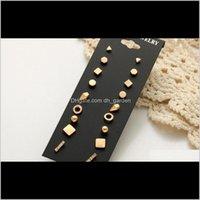 Stud Designer Metal Fashion Jewelry Simple Wind 9 Pairs Of Black Card Sets Earrings Wholesale Drop Delivery 2021 M9Ebg