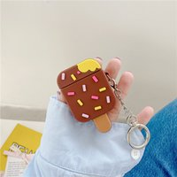 Creative Ice Cream Shape Case with Keychains for Airpods 1 2 Pro 3 Soft Silicone Flexible Cases Cover Cute Shockproof Earphone protector Wholesale Bulk 97230