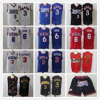 "Mens Philadelphia ""76ers"" Jersey Allen ""3"" Iverson ""Julius"" 6 Erntelte Basketball-Trikots Shorts blau rot weiß"