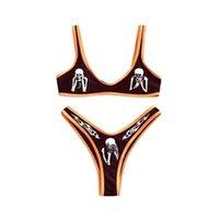Meihuida 2021 frauen sexy muster druck bikini ärmellose tank tops slip shimsuit klassisch bloß mildriff zweisteine set 264 b3