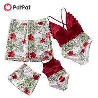 Patpat Summer Family Look Floral Impressão Costura Sólida Correspondência Swimsuits 210805