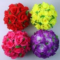 """8 """"(20cm) 웨딩 센터 피스 실크 로즈 장식 매달려 꽃 공 파티 키스 포매 장식 꽃 화환"""