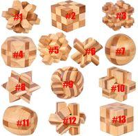Bambú Niños Educativo Juguete Kongming Luban Lock Blocks Ball Cuadrado Tetrahedron Júpiter Tic-Tac-Toe Jaula Barril de vino Cerraduras