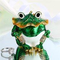 الكائنات الزخرفية التماثيل HD 2.5 بوصة صندوق حلقة حلقة الضفدع حامل خاتم يتوقف، bejeweled مرصع بالجواهر النادرة الحيوان مجوهرات مربع الهدايا ل