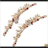 Golden Imitation Pearl Rhinestone Butterfly Shape Ornament Headdress Tassel Set For Bridal Gift Xrj1W Jewelry G9Txc