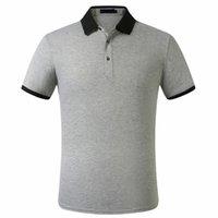 Hombre polos clásico transpirable camisetas algodón doble hebilla verano negocio de alta calidad turno de cuello hombres camiseta