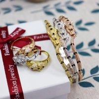 Мода Classic Tricolor Leopard Bangle Ring Dubai European Africa Set Zircon Женщины Девушка Свадьба Свадьба Свадебная вечеринка Подарочные Украшения Серьги Серьги Ожерелье