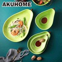 Creativo lindo vajilla de cerámica platos domésticos Snack Aguacate Bowl Ensalada Fruit Placa Sets de vajilla