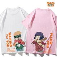 Japon Harajuku Erkekler T-Shirt Karikatür Anime Naruto Hinata Uzumaki Baskılı Gevşek Kısa Kollu Aşık Tops Çift Eşleştirme T Shirt