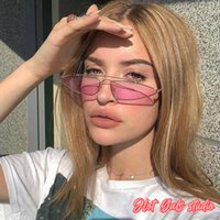 sunglasses Hot Gals Metal Small Frame Fashion Water Drop Cat's Eye Vintage Ocean Color Accessories for Goggles Gafas De Sol