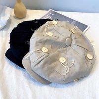 Cap designer's large octagonal hat cloud Hat Women's Hemp tassel button painter's autumn style