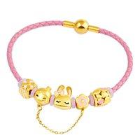 Charm Bracelets Little Girl Sand Gold Beads Pink Pendant Brand Bracelet DIY Making Rope Women's Jewelry