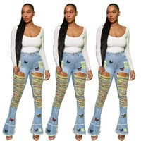 Flare Pants Women's Big Ripped Jeans Women Fashion Butterfly Embroidery High Waist Bell Bottom Woman Skinny Tassel Sexy Hollow Out