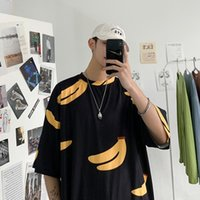 Men's T-Shirts Summer Mens T Shirts Oversized Loose Clothes Vintage Short Sleeve Fashion Trend Banana Print O Collared Tshirts For Men