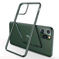 Plating-Elektroplant-Ultra-schlanke stoßfeste weiche TPU-klare Gummi-Silikon-Hülle für iPhone 13 pro max 12 mini 11 xs xr x 8 7 6 6S plus se