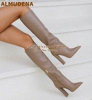 Almuena frauen matte leder kniehohe stiefel klobige ferse spitze spitze langen stiefel reißverschluss hohe kleid schuhe weiße schwarze kaffee 08ho #