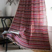 Bohemia Design Rideau demi-ombrage Rideaux de lin en coton pour chambre à coucher Salon Cuisine