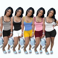 Sexy Summer clothing Women vest shorts jogger suits 2XL tank tops joggers 2 piece sets yoga pullover capris fashion casual
