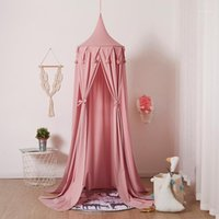 핑크 캐노피 침대 커튼 아기 침대 모기 그물 텐트 소녀 룸 액세서리 어린이 어린이 놀이 어린이 침실 장식 1