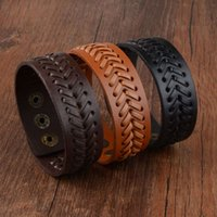 Старинный кожаный браслет для мужчин Женщины Браун Черный плетеный широкий браслет мужской панк-вечеринка