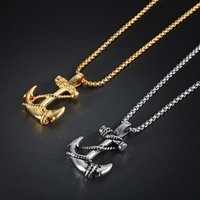 Stainless Steel Sea Anchor Cross Sailor Pendant Necklace Rolo Chain Punk Rock Hip Hop for Men Women Fashion Jewelry Gift with Velvet Bag