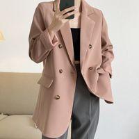 Terno boa versão! Coreano Blazer Mulher 2021 Casual Primavera Solta Dupla Temperal Peito Escritório Ladies Jacket ZH119 WJGJ