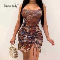 Glami Bayan Örgü Parti Kulübü Elbiseler Kadın Bodycon Seksi Elbise Yaz Sonbahar Mini Elbise Spagetti Kayışı Kadın Vestidos Oymak 210603
