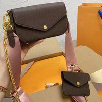 السيدات الأزياء الفاخرة العلامة التجارية حقيبة الكتف ثلاثة قطع مربع الأصلي دعوى محفظة رسول التسوق متعدد الوظائف بالجملة والتجزئة