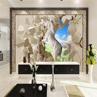 Обои на заказ обои 3d стереоскопическая белая лошадь Po настенные фрески серые кирпичные бумаги для гостиной домашнего декора