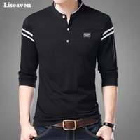 Liseaven Homens Camiseta Homem Manga Longa Camisetas Roupas Masculinas Mandarin Collar T-Shirts Tops Tees Masculino T-shirts 210329