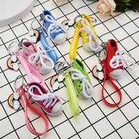 Keychains Mini Simulated Shoes Pendant Keychain Cute PVC Striped Leather Rope Backpack Bag Charm Accessories Birthday Gifts For Lovers