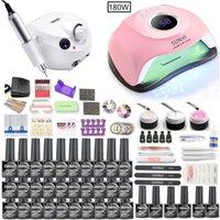 Nail Art Kits Manicure Set Electric Drill 180W 72W 54W UV LED Lamp Dryer Gel Polish Kit Varnish Tools