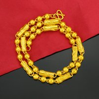 Popular Imitation Gold Ornament Mens Domineering Retro Dragon Column Three-Bead Necklace Copper-Plated Gold Necklace Running Rivers and Lake