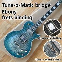 2021elektrik gitar, abanoz klavye, ciltleme, tune-o-matic köprü, yeşil patlama quilte akçaağaç