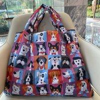 Foldable Reusable Shopping Bag Women Travel Shoulder Grocery Bags Handbag Large Size Oxford Cloth Environmental Protection Travel Shoul