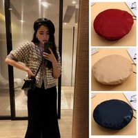 Beanies Women Fashion Beret Solid Cap Pu Leather French Artist Warm Beanie Hat Female Ladies All-Match Adjustable